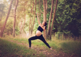 yoga maternity shoot in woodlawn park Seattle Washington
