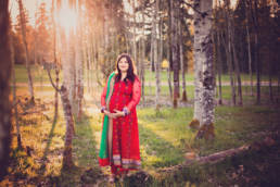 maternity portrait of mother in trees