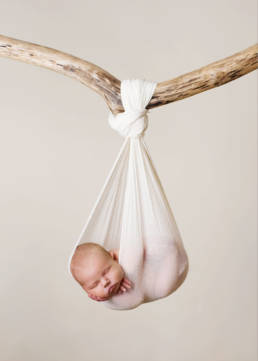 newborn baby asleep in sling tied to tree branch